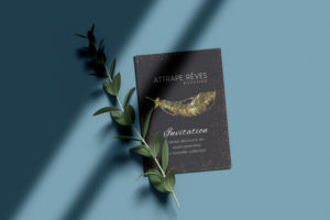 carte d'invitation avec dorure or