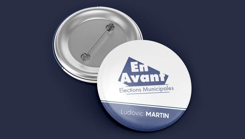 impression badge rond élections