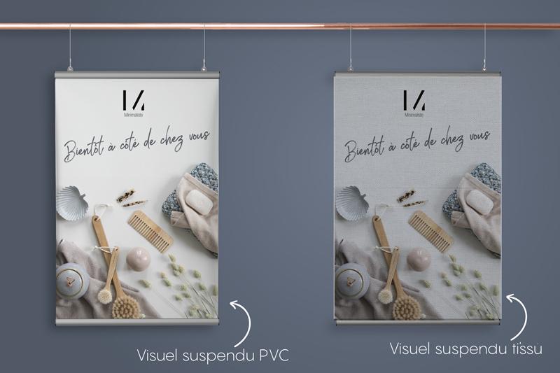 impression visuel suspendu tissu et pvc