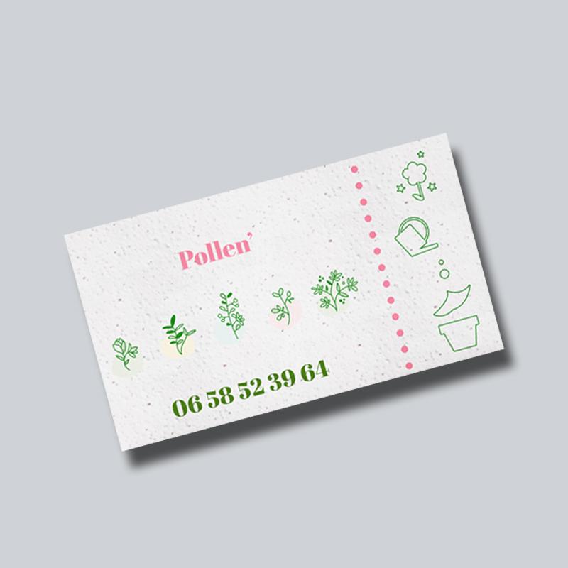 impression carte de visite papier ensemencé