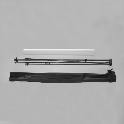 Vue de haut, contenu du sac X banner simple face imprimé 80x185