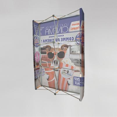 Vue de dos, mur d'image droit 3x3 imprimé textile