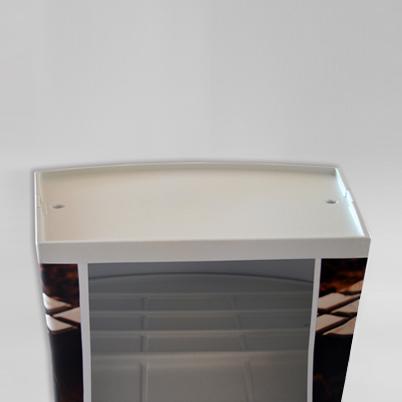 Vue de dos, comptoir d'accueil rectangulaire imprim�