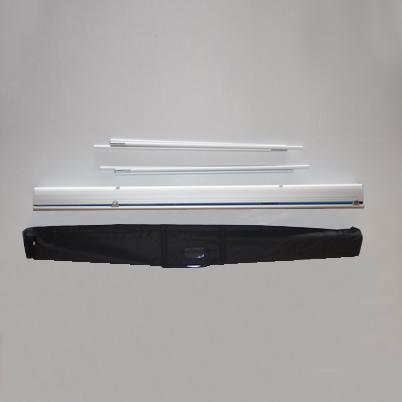 Vue de haut, contenu du sac roll'up imprimé 120x200